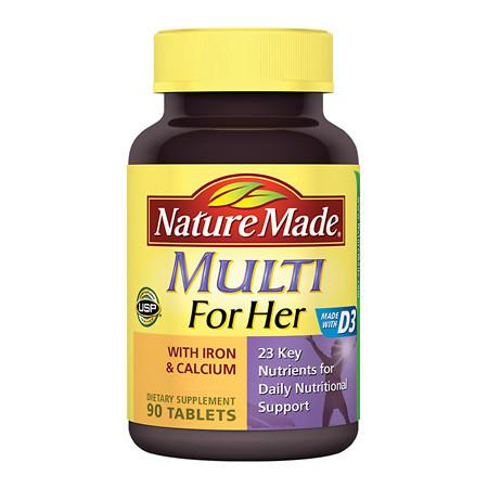 Nature Made Multi For Her With Iron & Calcium Dietary Supplement Tablets - 90 ea