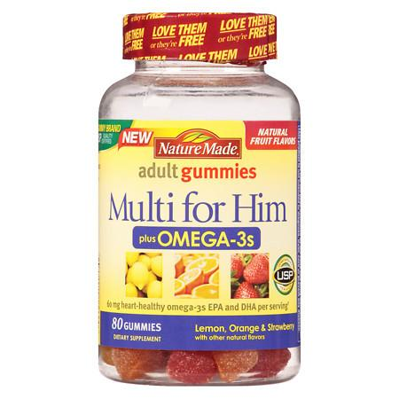 Nature Made Multi For Him Omega-3 Gummies Lemon, Orange & Strawberry - 80 ea