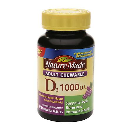 Nature Made Vitamin D3 1000 IU Dietary Supplement Adult Chewable Tablets - 120 ea
