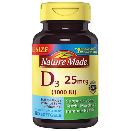 Nature Made Vitamin D3 1000 IU Dietary Supplement Liquid Softgels - 180 ea