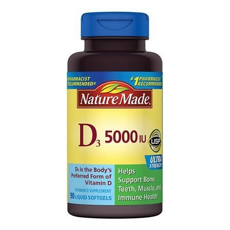 Nature Made Vitamin D3 5000 IU Dietary Supplement Liquid Softgels - 90 ea