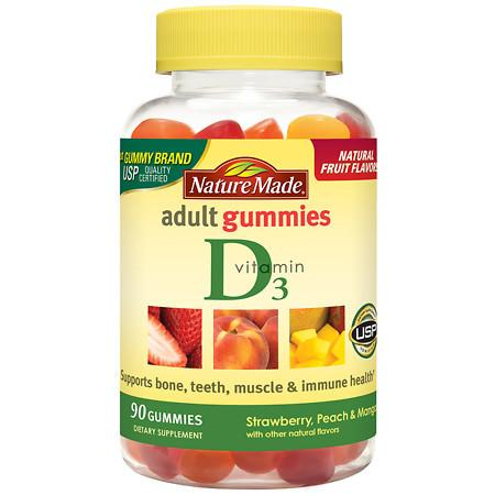 Nature Made Vitamin D3 Adult Gummies Strawberry, Peach & Mango - 90 ea