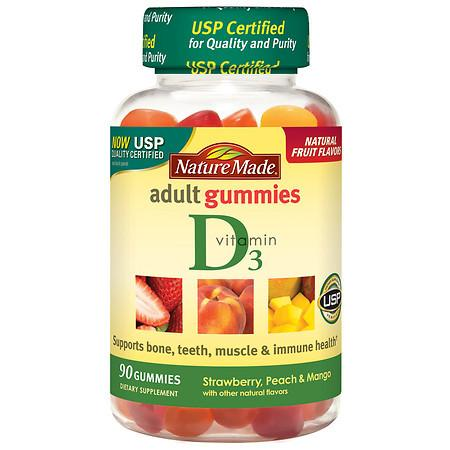 Nature Made Vitamin D3 Adult Gummies Strawberry, Peach, and Mango - 150 ea