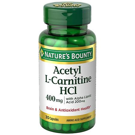 Nature's Bounty Acetyl L-Carnitine 400 mg with Alpha Lipoic Acid Dietary Supplement Capsules - 30 ea