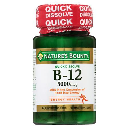 Nature's Bounty B-12 5000 mcg, Quick Dissolve - 40 ea