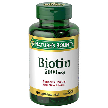 Nature's Bounty Biotin 5000mcg Dietary Supplement, Softgels Value Size - 150 ea