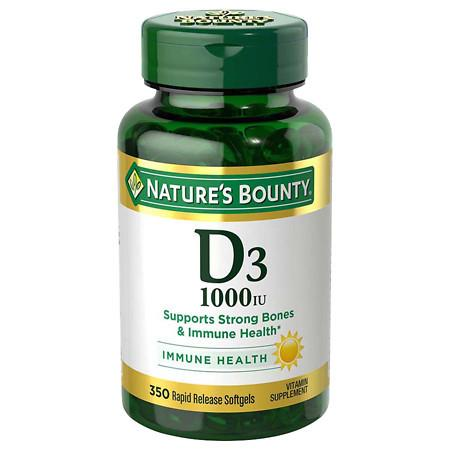 Nature's Bounty D-1000 IU Dietary Supplement Rapid Release Liquid Softgels - 350 ea