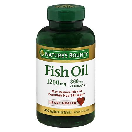 Nature's Bounty Fish Oil 1200 mg Dietary Supplement Rapid Release Liquid Softgels - 180 ea
