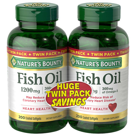 Nature's Bounty Fish Oil 1200 mg Dietary Supplement Softgels Twinpack - 200 ea