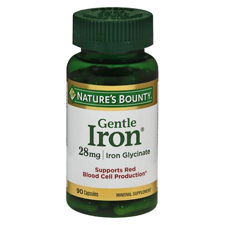 Nature's Bounty Gentle Iron, 28mg, Capsules - 90 ea