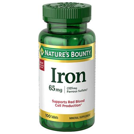 Nature's Bounty Iron, 65mg, Tablets - 100 ea