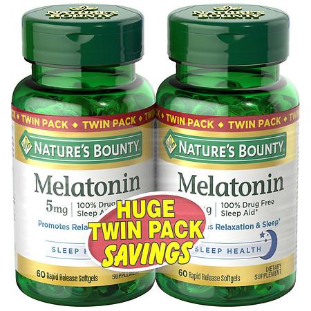 Nature's Bounty Melatonin 5mg Dietary Supplement, Softgels - 60 ea