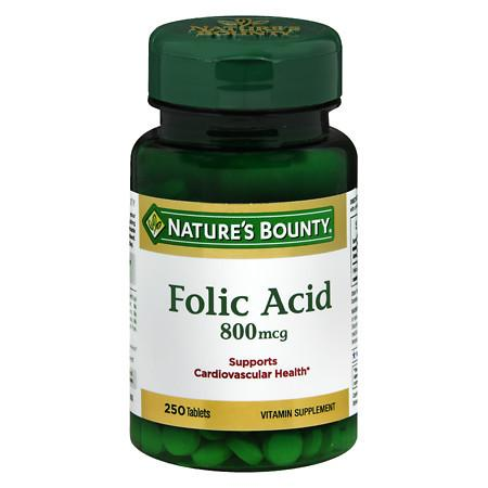 Nature's Bounty Natural Folic Acid 800 mcg Dietary Supplement, Tablets - 250 ea