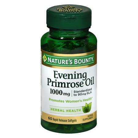 Nature's Bounty Standardized GLA 9% Evening Primrose Oil 1000 mg90 mg Herbal Supplement Rapid R - 60 ea