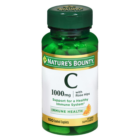Nature's Bounty Vitamin C-1000mg Plus Rose Hips, Coated Caplets - 100 ea