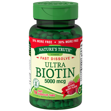 Nature's Truth Ultra Biotin 5,000mcg, Fast Dissolve Tabs Berry - 78 ea