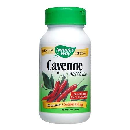 Nature's Way Cayenne 40,000 H.U. Dietary Supplement 450 mg Capsules - 100 ea
