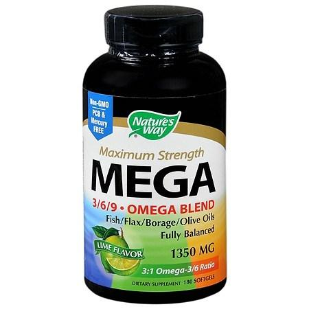 Nature's Way Mega 369 Omega Blend 1350 mg Dietary Supplement Softgels - 180 ea