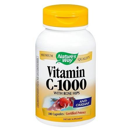 Nature's Way Vitamin C-1000 with Rose Hips Capsules - 100 ea