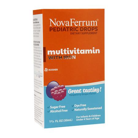 NovaFerrum Pediatric Drops Multivitamin with Iron Raspberry Grape - 1.66 oz.