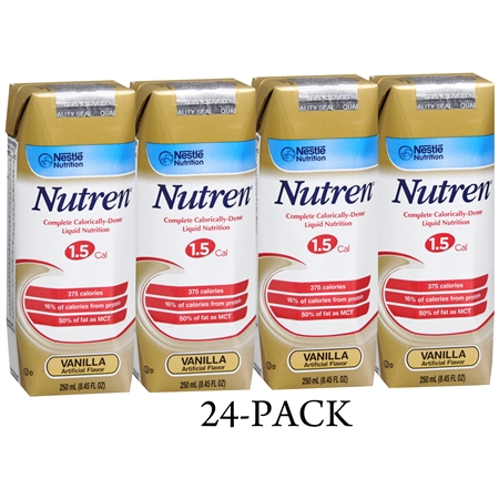 Nutren Complete Calorically-Dense Liquid Nutrition 1.5 Cal 24 Pack Vanilla - 250 fl oz