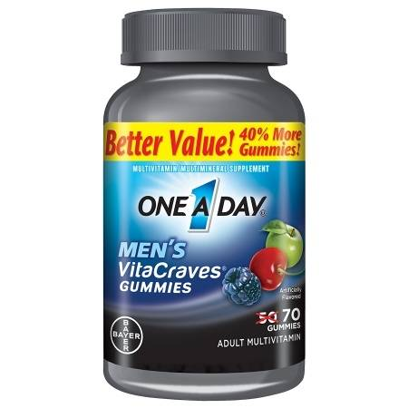 One A Day VitaCraves Men's Multivitamin Gummies Fruit - 70 ea