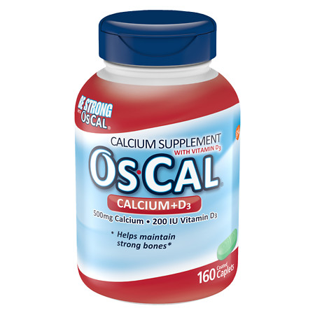 Os Cal Calcium 500mg with Vitamin D3 200 IU, Caplets - 160 ea