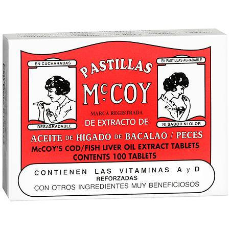 Pastillas McCoy CodFish Liver Oil Extract Dietary Supplement Tablets - 100 ea