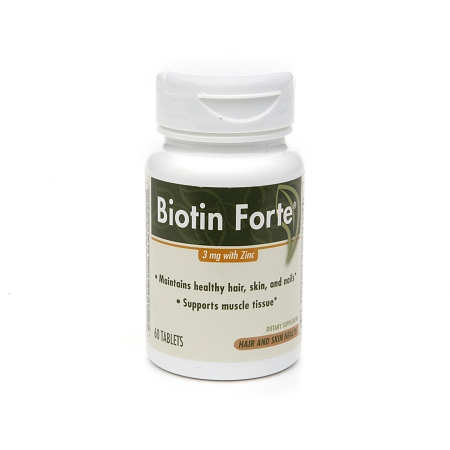 PhytoPharmica Biotin Forte 3 mg with Zinc Tablets - 60 ea