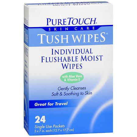 PureTouch Tush Wipes Individual Flushable Moist Wipes - 24 ea