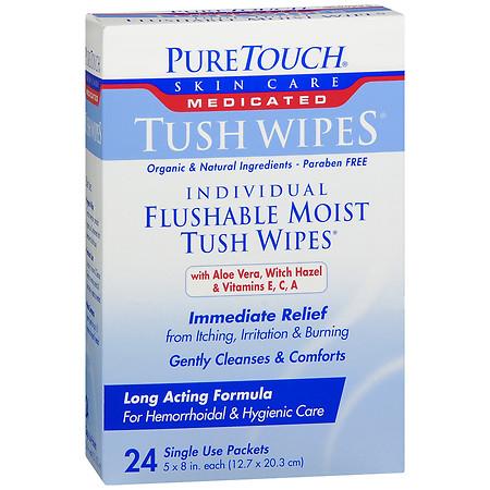 PureTouch Tush Wipes Medicated Individual Flushable Moist Tush Wipes - 24 ea
