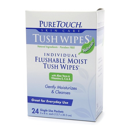 PureTouch Tush Wipes Naturals, Flushable Moist Wipes - 24 ea