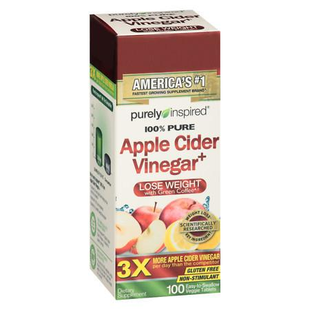 Purely Inspired 100% Pure Apple Cider Vinegar Veggie Tablets - 100 ea