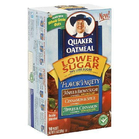 Quaker Instant Oatmeal Lower Sugar Flavor Variety - 11.52 oz.