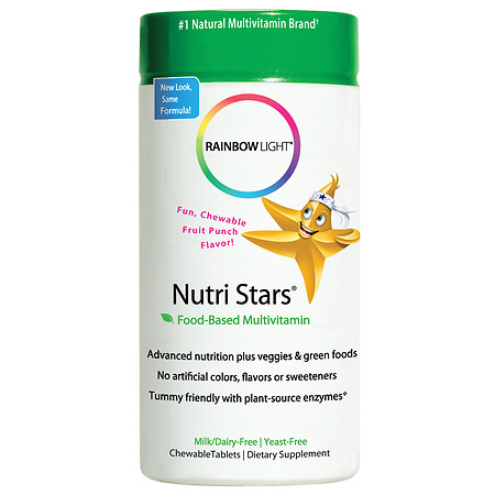 Rainbow Light Nutri Stars Food-Based Multivitamin, Chewable Tablets Fruit Punch - 120 ea
