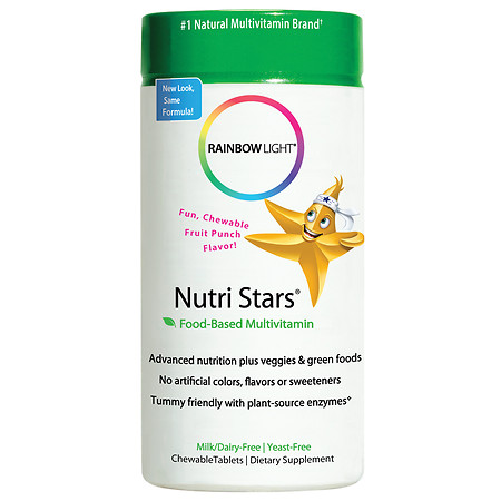 Rainbow Light Nutri Stars Food-Based Multivitamin, Chewable Tablets Fruit Punch - 60 ea