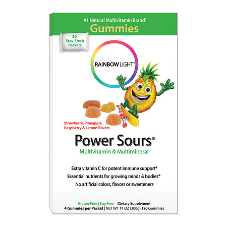Rainbow Light Power Sours Gummies, Multivitamin & Multimineral Single-Serve Packets Sour Fruit - 0.37 oz.