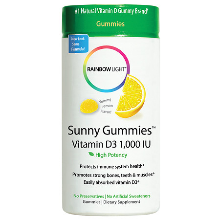 Rainbow Light Vitamin D3 1000 IU Sunny Gummies Sour Lemon - 100 ea