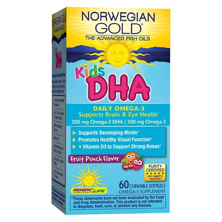 ReNew Life Norwegian Gold Kids DHA Chewables Fruit Punch - 60 ea
