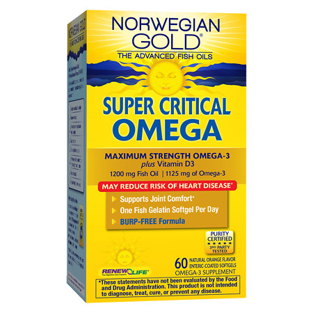 ReNew Life Norwegian Gold Super Critical Omega, Ultimate Fish Oils, Gels Orange - 60 ea