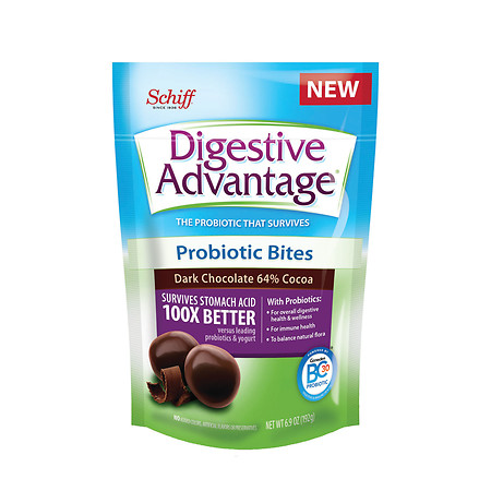 Schiff Digestive Advantage Probiotic Bites Dark Chocolate - 7 oz.