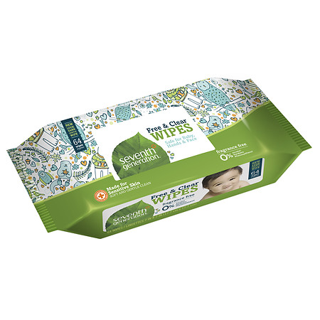 Seventh Generation Free & Clear Baby Wipes Free & Clear - 64 ea