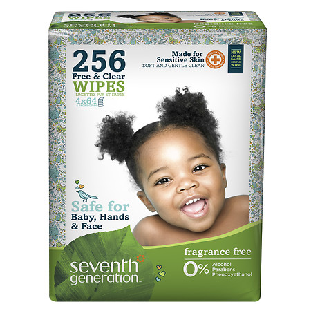 Seventh Generation Thick n' Strong Baby Wipes Refill Free & Clear - 256 ea