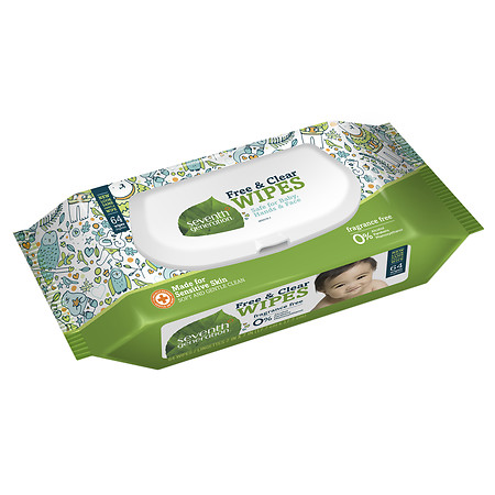 Seventh Generation Thick n' Strong Baby Wipes with Flip Top Dispenser Free & Clear - 64 ea