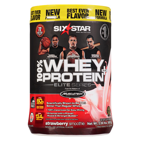 Six Star Elite Series Whey Protein+ Dietary Supplement Powder Strawberry Smoothie - 2 lb
