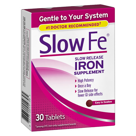 Slow Fe Slow Release Iron, Tablets - 30 ea