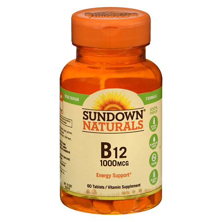 Sundown Naturals B12 1000 mcg Vitamin Supplement Tablets - 60 ea