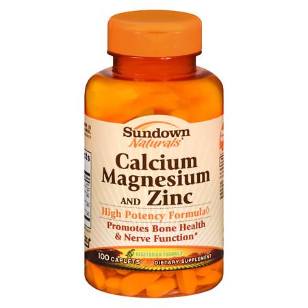 Sundown Naturals Calcium, Magnesium and Zinc, Caplets - 100 ea