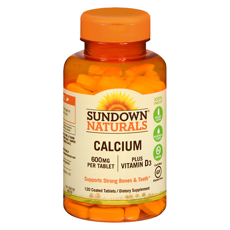 Sundown Naturals Calcium plus Vitamin D3, 600mg, Tablets - 120 ea