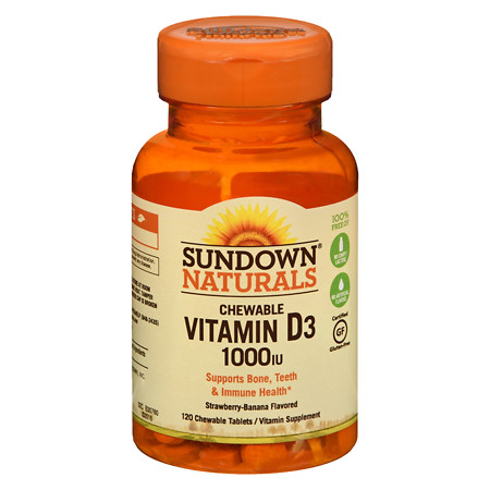 Sundown Naturals Chewable Vitamin D3 1000 IU, Tablets Strawberry-Banana - 120 ea